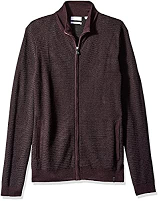 Calvin Klein Men's Full Zip Merino Plaited Sweater