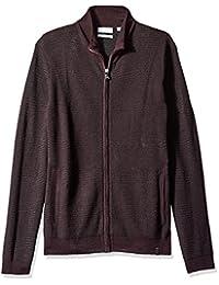 Calvin Klein Mens Merino Acrylic Plaited Racked Rib Full Zip Sweater