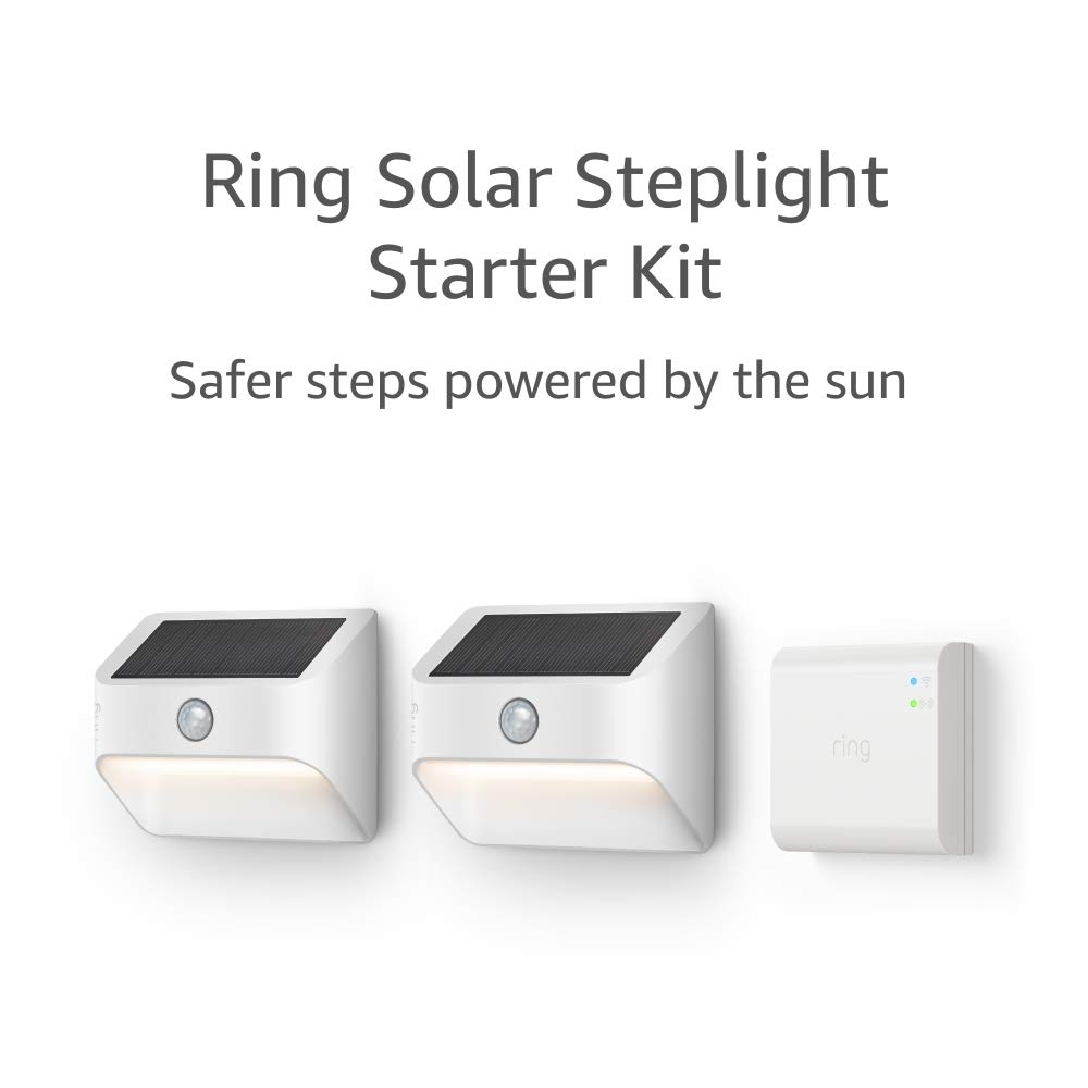 Ring Solar Steplight, Outdoor Motion-Sensor Security Light, White (Starter Kit: 2-pack)