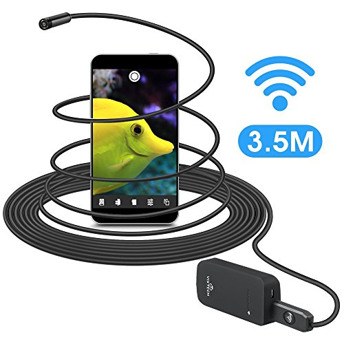Engine I/f Cable (Wireless Borescope 11.4ft, VIXTECH Wi-Fi Inspection Camera Endoscope,Up to 2 Hours of Life Time, 2.0 Megapixels HD Snake Camera, 6 Adjustable LEDs, Supports Multiple Devices at Once, for iOS/Android)