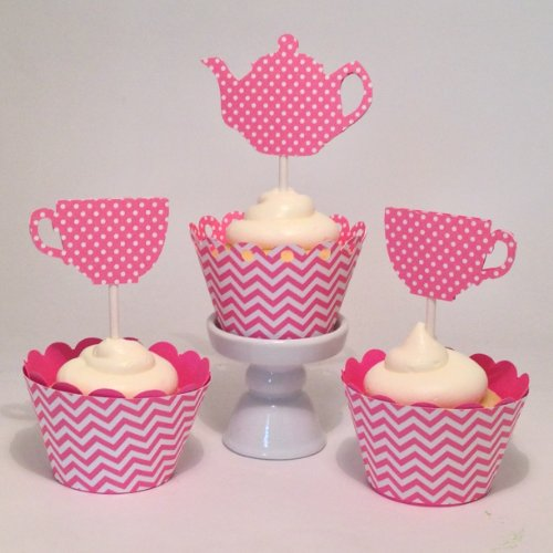 Birthday Cupcake Topper, Alice's Teacup Cupcake Toppers, Tea for Two, Set of 12