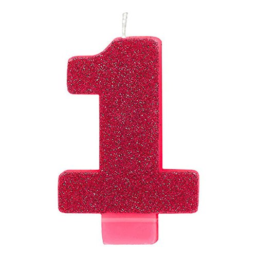 Amscan 170452 1 Numeral Glitter Candle, 3 1/4
