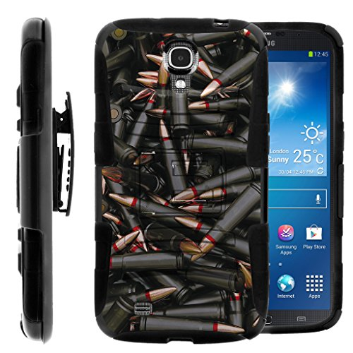 TurtleArmor | Compatible for Samsung Galaxy Mega Case | Mega 6.3 Case [Hyper Shock] Armor Hybrid Hard Shell Stand Fitted Silicone Holster Belt Clip War and Military Design - Black - Mega Samsung Att Cases Galaxy