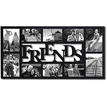 adeco pf0396 10 opening decorative wood friends collage wall hanging picture photo frame 4x6 inches and 5x7 inches black