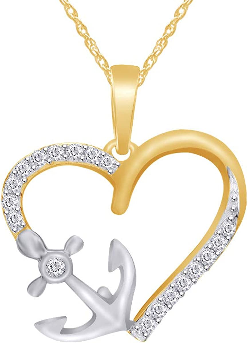 Wishrocks Christmas Holiday Sale Natural Diamond Accent Love Heart Locket Pendant Necklace in 14K Gold Over Sterling Silver
