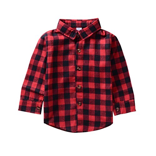 Kehen Toddler Baby Boys Girls Long Sleeve Button Down Plaid Flannel Shirt Blouse Letter Print Tops (Red, 12-18 Months)