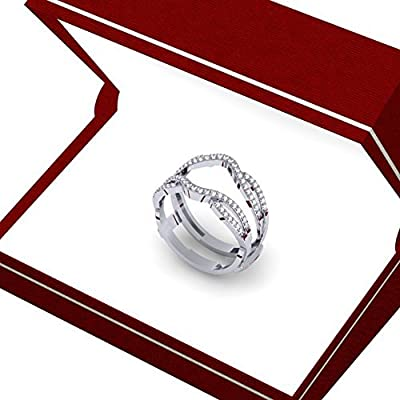 0.35 Carat (ctw) 10K White Gold Round Cut White Diamond Ladies Wedding Band Guard Double Ring 1/3 CT