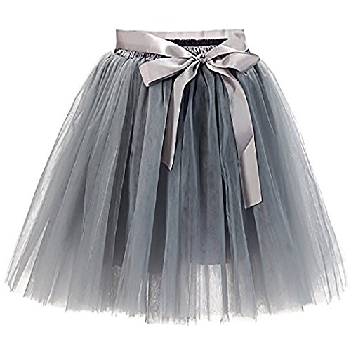 Women's High Waist Princess Tulle Skirt Adult Dance Petticoat A-line Wedding Party Tutu(Grey),One Size by Minyue