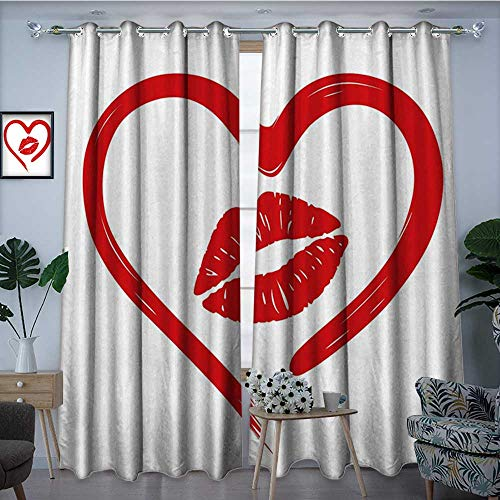 longbuyer KissBlackout DrapesHeart Drawn in Lipstick and Woman Lip Imprint Romance Passion and Tenderness MessageBlackout Curtains Room Darkening Thermal Insulated W96 x L96 Red White