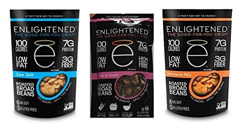 Enlightened Plant Protein Gluten Free Roasted Broad Mesquite BBQ 4.5 oz & Sea Salt 4.5 oz & Garlic/Onion 4.5 oz (Pack of ()