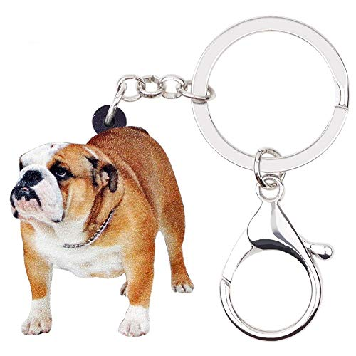 (PAPPET Bulldog Keychain English Bulldog Keychain Brown Pug Dog Car Keyring Puppy Bag Handbag Wallet Charm Pendant Backpack Accessories Pet Jewelry Valentines Birthday Gifts for Dog Lovers)