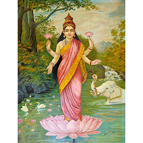 Wee Blue Coo Painting Varma Goddess Lakshmi Unframed Wall Art Print Poster Home Decor Premium -