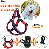 PETLUF Dog Harness and Leash Seat Belt Adjustable Durable Denim for Small Medium Perfect For Walking Training