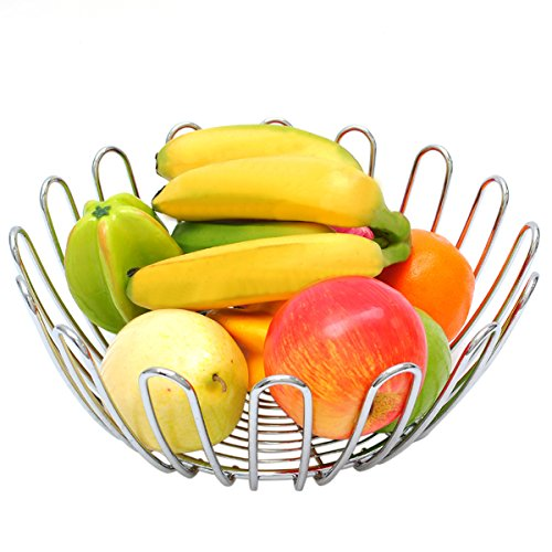 Elegant Fruit Basket Fruit Orgnizer Chrome Wire Metal with Modern Sunflower (Chrome Sunflower)