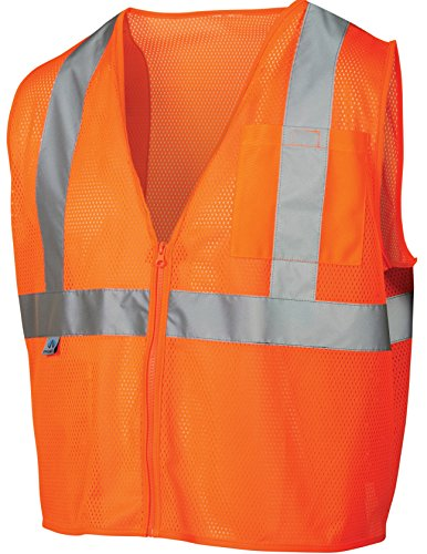 Pyramex RVZ2120XL Lumen X Class 2 Safety Vest with Zipper, X-Large, Hi-Vis Orange (Orange Hi Visibility Vest)