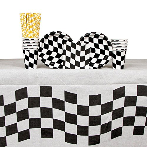 (Black & White Checkered Party Pack for 16 Guests: Straws, Dessert Plates, Beverage Napkins, Cups, and Table Cover)