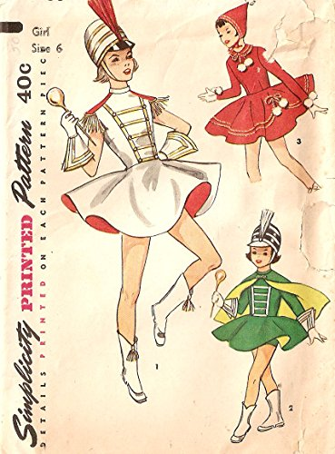 Simplicity 1950s vintage sewing pattern 4866 costumes: majorette, ice skater, drum major - Girls' size