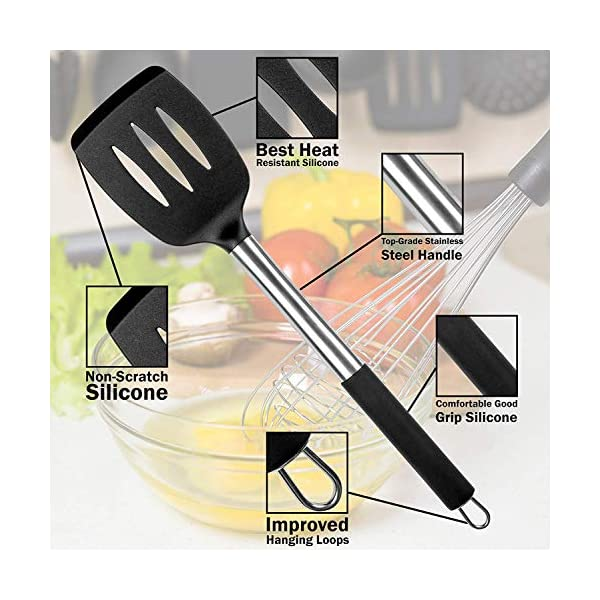 Mibote 15 Pcs Silicone Kitchen Utensils Set, Cooking Utensils Set with Heat Resistant BPA-Free Silicone and Stainless… 3