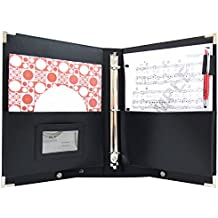 "MSP Letter Size 9.5 x 12"" Premium Concert/ Choral Folder with detachable Strap, handle and 3 Ring Binders- Medium (Black)"