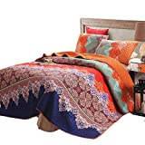Exclusivo Mezcla 100% Cotton 3-Piece Rich Printed Boho King Size Quilt Set as Bedspread/Coverlet/Bed Cover- Lightweight, Reversible& Decorative