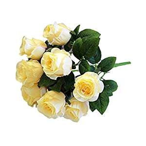 Most.Wished.for 9Heads Artificial Fake Silk Roses Flower Bridal Bouquet Wedding Party Home Decor 42