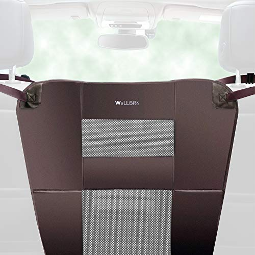 Wellbro Luxury Durable Nylon Net and Oxford Cloth Pet Barrier, Padded Vehicle Travel Dog Barriers, Waterproof and Safe, Keep Dogs in Back Seat, Fits All Cars 24 Long x 24 Wide (Brown)