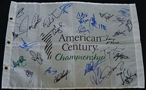 Lake Tahoe Celebrity Golf Autographed Flag (30 Signatures!) Autographed Golf Pin Flags