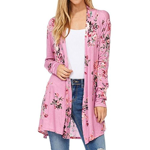 DaySeventh Kimono Cardigan Women's Fall Long Sleeve Floral Print Kimono Cardigan Blouse (XXXL, Type 3 Pink)