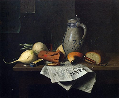 Cutler Miles Munich Still Life by William Michael Harnett Hand Painted Oil on Canvas Reproduction Wall Art. 30x24 (Harnett Life William Still)
