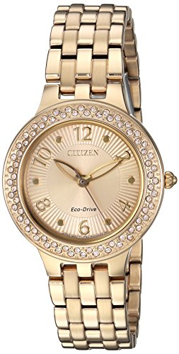 Citizen Women's 'Eco-Drive' Quartz Stainless Steel Casual Watch, Color Gold-Toned (Model: FE2082-51P)