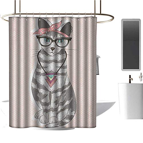 Necklace Vibrant Hamsa (Qenuan Home Decor Shower Curtain by Teen Room,Stylish Kitty Cat with Glasses Tribal Necklace Clasp Fashion Design Print, Pale Pink Grey,for Bathroom Showers, Stalls and Bathtubs 54