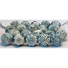Artncraft 10 Knobs Grey & White Cream Hand Painted Ceramic Knobs Cabinet Drawer Pull Pulls