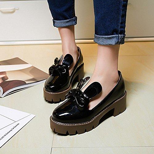 MissSaSa Décoration Talons Chaussures à Noir deux Femmes Plateforme Boucle Escarpins Noeud Bloc Moyen rnrHqx