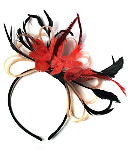 Nude rose saumon-Rouge-Creole plume et filet pour Cheveux Serre Tete mariage Royal Ascot courses
