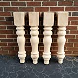 Chunky Unfinished Farmhouse Dining Table Legs- Set of 4 Turned Legs- Design 59 inc