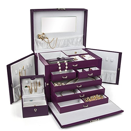 SHINING IMAGE LARGE PURPLE LEATHER JEWELRY BOX / CASE / STORAGE / ORGANIZER WITH TRAVEL CASE AND LOCK image