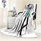 Microfiber Fleece Comfy All Season Super Soft Cozy Blanket cute cartoon hipster girl for Bed Couch and Gift Blankets(90''x 70'')