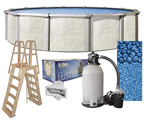 (Fallston 24-Foot-by-52-Inch Round Above-Ground Swimming Pool Complete Bundle Kit | Boulder Swirl Pattern Overlap Liner | A-Frame Ladder System | Filter Tank | 1 HP Pump | Wide-Mouth Skimmer)