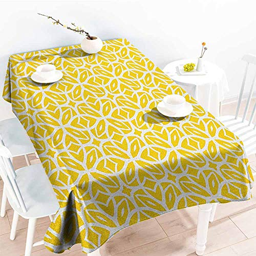 familytaste Yellow and White,Wedding Banquet Table Decoration Geometric Art Pattern with Lacing Shapes 30s Style Spring Fashion 70