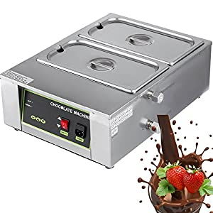 DreamJoy 1000W Electric Chocolate Melting Pot Machine Double Tanks 17.6lbs Capacity Commercial Home Electric Chocolate Heater Double Boiler Digital Control Two Pan Electric Chocolate Melter(2 Tanks)