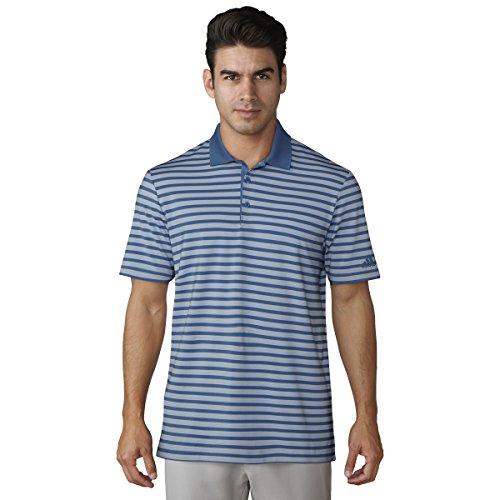 adidas Golf Men's Ultimate 3-Color Stripe Polo, Ash Blue /Real Gold, Medium