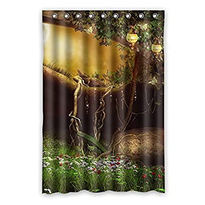 48x72 Green Forest Shower Curtain Landscape Painting Waterproof Bathroom Brown Trunk Red