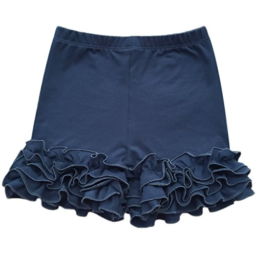 (Baby Kid Girls Summer Icing Ruffle Shorts Pants Boutique Cotton Comfortable Bottoms Casual Party Activewear Playwear Navy 7-8)