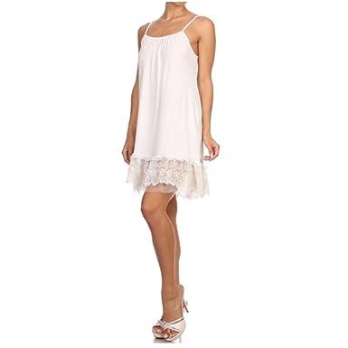 7f3fd9477001f Sunshine & Rodeos White Lace Trim Long Full Length Camisole Slip Top/Dress  Extender (