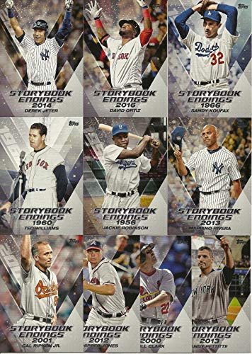 2018 Topps STORY BOOK ENDINGS Series 10 Card Insert Set Including Stars and Hall of Famers Derek Jeter, Sandy Koufax, Jackie Robinson, David Ortiz, Cal Ripken, Ted Williams -