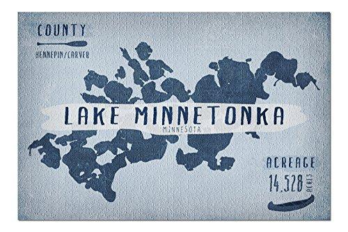 - Lake Minnetonka, Minnesota - Lake Essentials - Shape, Acreage and County (20x30 Premium 1000 Piece Jigsaw Puzzle, Made in USA!)