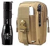 TacticalGearz LED Flashlight Bundle! High Power Military Grade Aluminum LED Tactical Flashlight Nested inside Tactical Day Pack! (Beige)