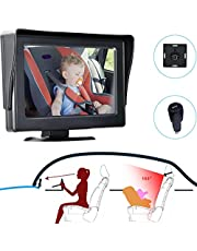 Baby Car Mirror HD Night Vision observe the baby in the back seat with Wide Crystal Clear View USB Socket Safety Car Seat Mirror Monitored Mirror aimed at baby Easily to viewing Baby's Every Move