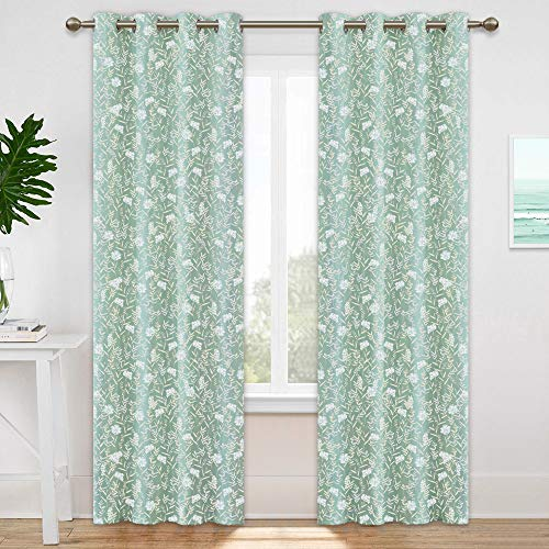 KGORGE Natural Floral Printed Curtains, Insulated Summer Heat Block Sunlight for Energy Saving & Room Darkening for Patio Sliding Glass Door, 2 Panels, 52