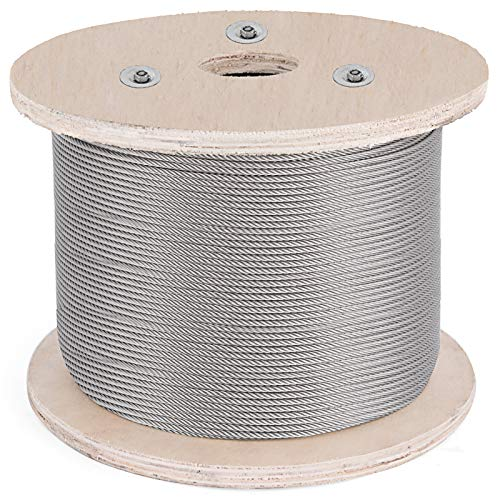 BestEquip Cable Railing 500FT Stainless Steel Wire Rope 1/8 Inch Stainless Stranded Wire 1x19 Wire Rope T316 (500FT) (Steel Stainless 1)